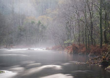 Mist river in Galicia, Spain. Stock Images