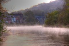 Mist on river in Ironbridge Stock Photography