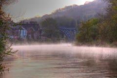 Mist on river in Ironbridge Stock Photography