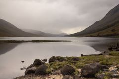Mist rolling in to Glen Etive stock images