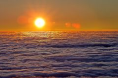 Mist sea of fog the sun Royalty Free Stock Image