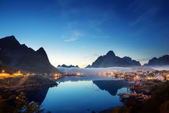 Mist in sunset time Reine Village, Lofoten Islands, Norway Stock Images
