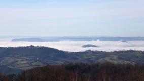 Mist timelapse. Timelapse of mist over the dordogne valley in France stock footage