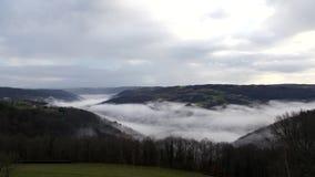 Mist timelapse. Timelapse of mist over the dordogne valley in France stock video
