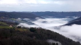 Mist timelapse. Timelapse of mist over the dordogne valley in France stock video footage