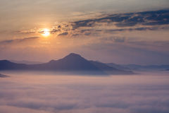 Mist from the top of mountain Royalty Free Stock Image
