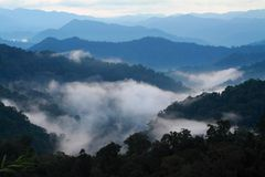 Mist valley. A view from mountains to the valley covered with smog Stock Photography