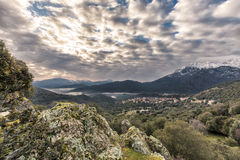 Mist in the valley near Moltifao in Corsica Stock Photo