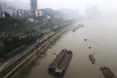 Mist yangtze rivier royalty-vrije stock fotografie