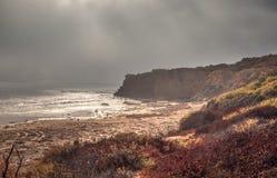 Mistafwijkingen in over de oceaan bij Crystal Cove-het strand van de staat royalty-vrije stock foto