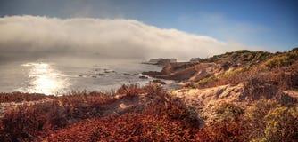 Mistafwijkingen in over de oceaan bij Crystal Cove-het strand van de staat stock fotografie