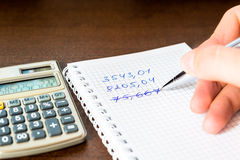 Mistake in the calculations. Calculation with a calculator, Mistake in the calculations royalty free stock photos