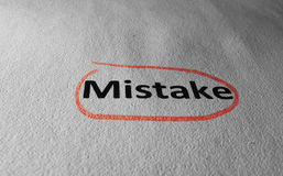Mistake circled in red Stock Photos