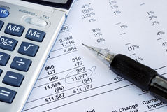 A mistake in the financial statement Stock Images