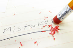 Mistake fix. Closeup of a pencil eraser correcting a mistake Royalty Free Stock Image