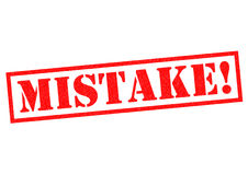 MISTAKE!. Red Rubber Stamp over a white background Stock Images