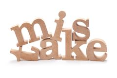 MISTAKE Wood Letters Stock Photography