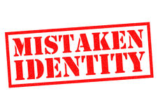 MISTAKEN IDENTITY. Red Rubber Stamp over a white background Royalty Free Stock Photo