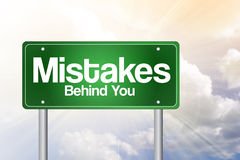 Mistakes, Behind You Green Road Sign Royalty Free Stock Images