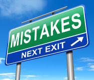 Mistakes concept. Illustration depicting a road sign with a mistakes concept Royalty Free Stock Photography
