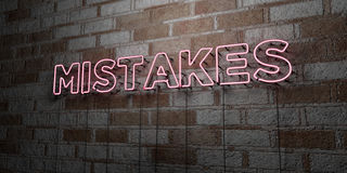MISTAKES - Glowing Neon Sign on stonework wall - 3D rendered royalty free stock illustration Royalty Free Stock Photo
