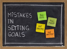 Mistakes in setting goals stock photo
