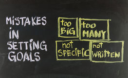 Mistakes in setting goals royalty free stock image