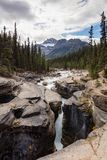 Mistaya Canyon Waterfall and Stream, Banff National Park. Mistaya Canyon under cloudy skies Stock Photo