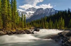 Mistaya-Fluss mit Berg Lizenzfreie Stockbilder