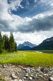 Mistaya lake panorama. On the icefield parkway in banff national park, alberta, canada Royalty Free Stock Photos
