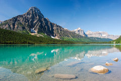 Mistaya lake panorama. On the icefield parkway in banff national park, alberta, canada Royalty Free Stock Images