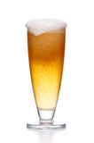 Misted glass of light beer on white Stock Photography