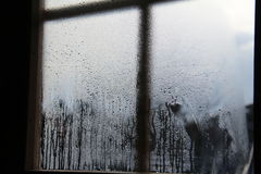 Misted window. / Window with raindrops on the glass Royalty Free Stock Images