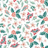 Misteltoes and christmas flowers on a white background. Seamless vector pattern. stock illustration