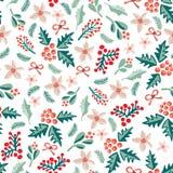 Misteltoes e flores do Natal em um fundo branco Teste padrão sem emenda do vetor ilustração stock