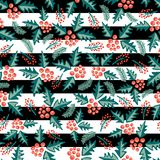Misteltoes scattered seamless vector pattern on black and white stripes. royalty free illustration