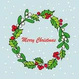 Mistelzweig der frohen Weihnachten mit Beere Traditionelle Hand gezeichnete Weihnachtsbeerendekorations-Grußkarte Stockbild
