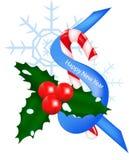 Mistelzweig mit Grün verlässt, der gestreifte Lutscher, ein blaues neues Jahr ` s Band, weißer Schnee Stockfoto
