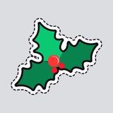 Mistelzweig-Weihnachtsbaum Einige Rot-Blasen patch lizenzfreie abbildung