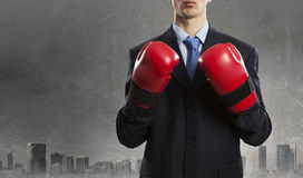 Mister boss ready to fight . Mixed media Royalty Free Stock Photography