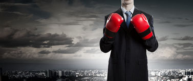Mister boss ready to fight . Mixed media Royalty Free Stock Images