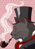 Mister Cat. Vector illustration of a cat in top hat and smoking a pipe Stock Images