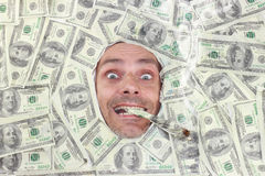 Mister Dollar smoking Royalty Free Stock Photos