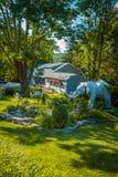 Mister Eds Elephant Museum Garden Area. Orrtanna, PA - June 2, 2012: Outdoor walking garden featuring elephant statues at Mister Eds Elephant Museum and Candy Royalty Free Stock Image