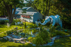 Mister Eds Elephant Museum Walking Garden Area. Orrtanna, PA - June 2, 2012: Outdoor walking garden featuring elephant statues at Mister Eds Elephant Museum and Stock Image