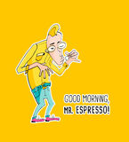 Mister Espresso Coffee in hipster style Royalty Free Stock Photography