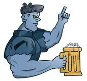 Mister Frankenstein Holding Glass of Beer Royalty Free Stock Images