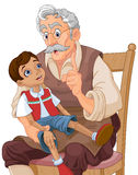 Mister Geppetto and Pinocchio. Mister Geppetto teaches Pinocchio doll Stock Images