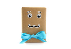 Mister Gift - funny gift wrap with comic face Stock Photos
