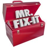 Mister Mr Fix-It 3d Word Toolbox Handyman. Mr. Fix-It words inside a red metal toolbox to illustrate a handyman, repair service worker or building contractor on Stock Images